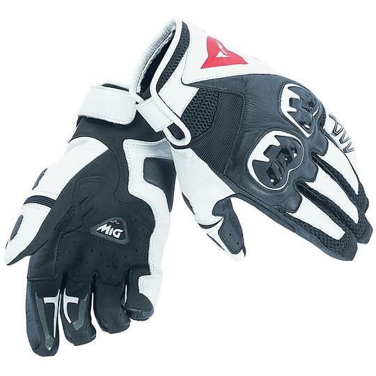 Gants de moto d'été en cuir Dainese MIG C2 noir blanc