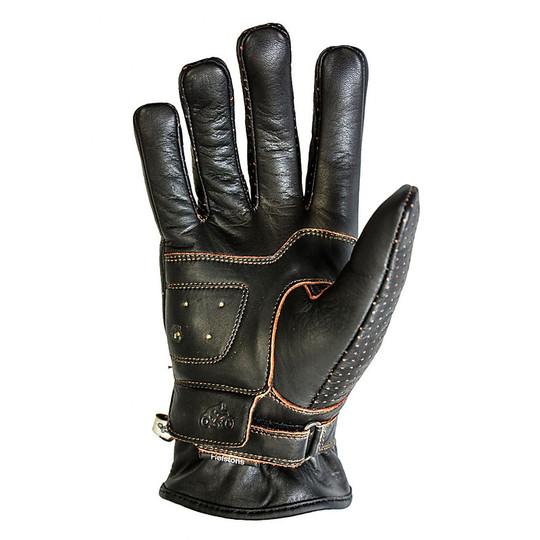 Gants de moto d'été en cuir perforé Helstons Basik Air Model Brown Black