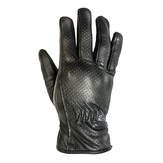 Gants de moto d'été en cuir perforé Helstons Basik Air Model Noir