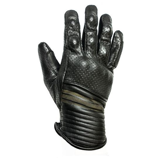 Gants de moto d'été en cuir perforé Helstons Corporate Model Noir