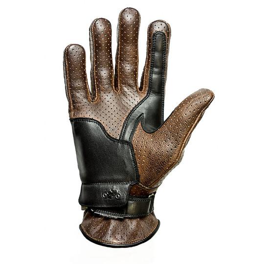 Gants de moto d'été en cuir perforé Helstons modèle d'entreprise camel noir