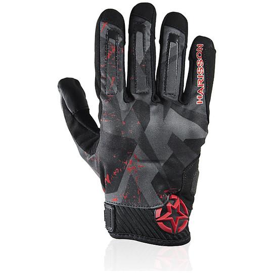 Gants de moto d'été en tissu Harisson Score noir rouge
