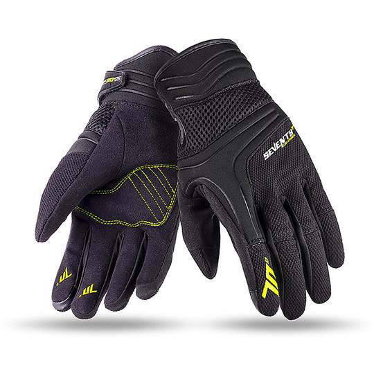 Gants de moto d'été en tissu Seventy C18 noir jaune homologué