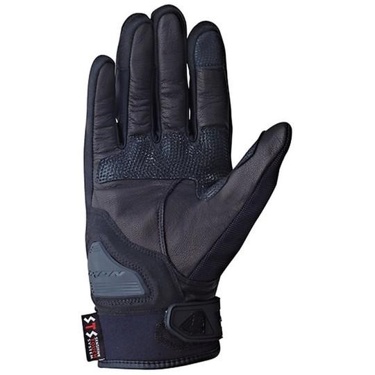 Gants de moto d'été Ixon Roadster en cuir noir Rs Grip