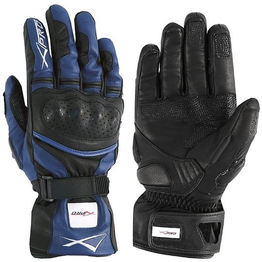 Gants de moto de course thermique A-Pro en cuir pleine fleur bleu