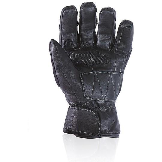 Gants de moto de mi-saison en cuir de coin de fléchettes certifié noir étanche