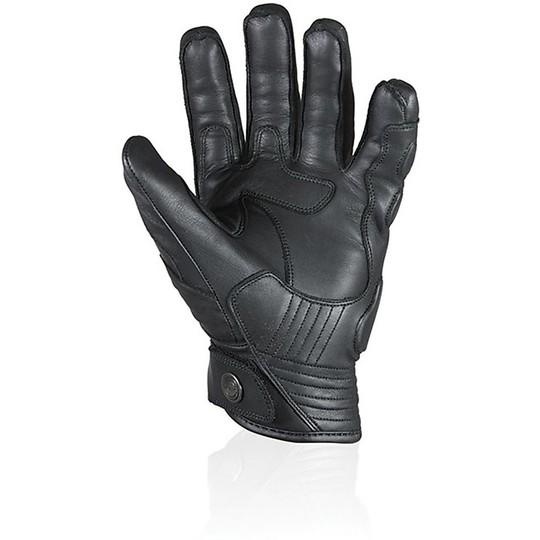 Gants de moto de mi-saison en fléchettes en cuir sauvage imperméable noir certifié