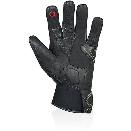 Gants de moto de mi-saison en fléchettes Jackson en cuir imperméable noir certifié