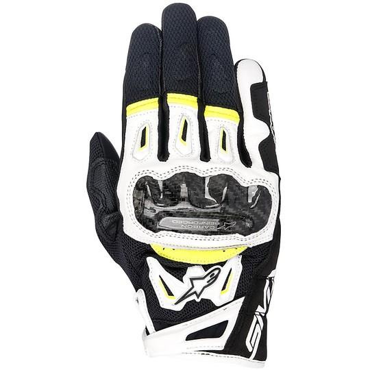 Gants de moto en tissu perforé Alpinestars SMX-2 Air Carbon v2 Noir Blanc Jaune Fluo