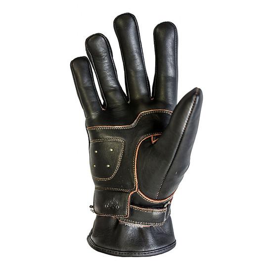 Gants moto été cuir pleine fleur Helstons modèle Basik marron noir