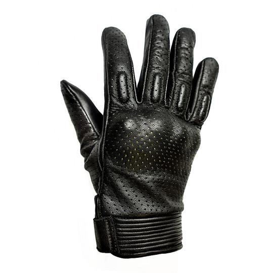 Gants moto été femme cuir perforé Helstons modèle côté noir blanc