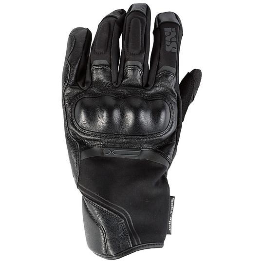 Gants moto coupe-vent en cuir et tissu léger Touring Ixs ST-Plus court noir