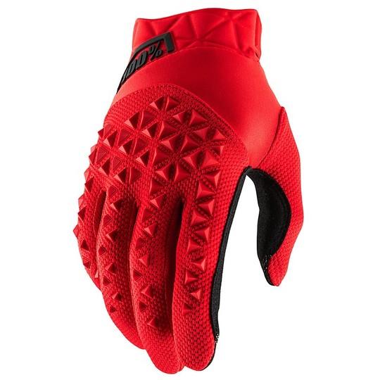 Gants moto Cross Enduro 100% AIRMATIC Rouge Noir