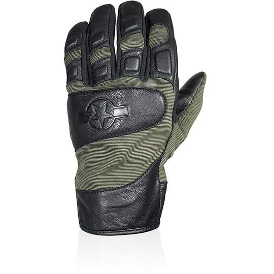 Gants moto cuir et tissu Summer Harisson Marshall Tissue Green Khaki