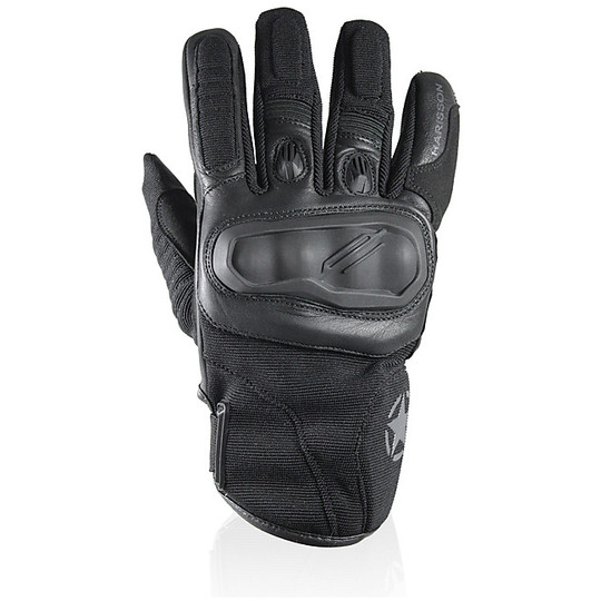 Gants moto cuir et tissu Summer Harisson Staton Blacks
