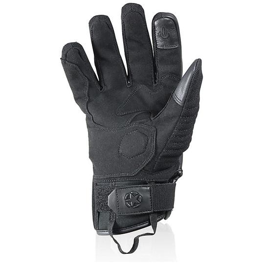 Gants moto cuir et tissu Summer Harisson Staton noir gris