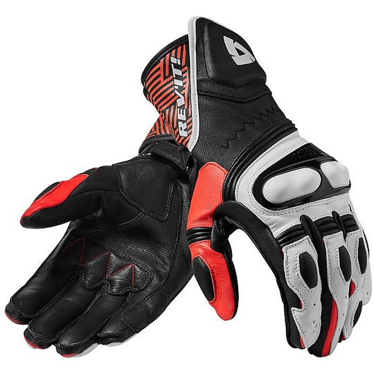 Gants moto cuir Racing Rev'it METIS Noir Rouge Fluo