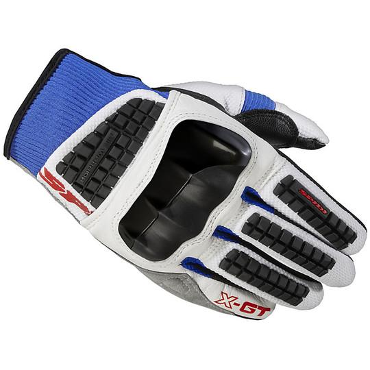 Gants moto en cuir et tissu Spidi X-GT Summer blanc bleu