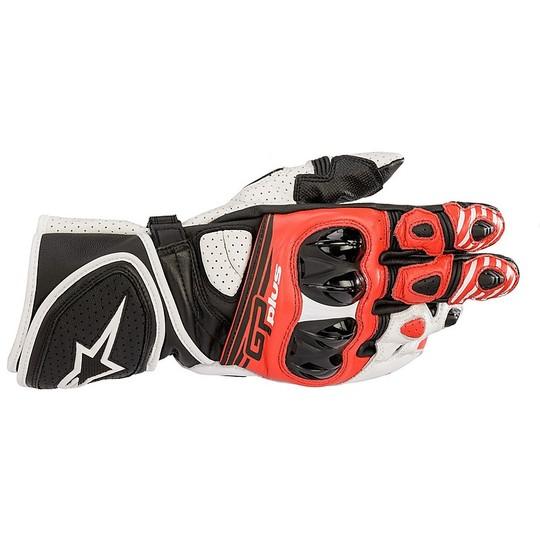 Gants moto en cuir Racing Alpinestars GP PLUS R v2 Noir Blanc Rouge Fluo