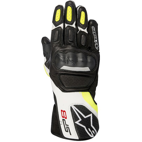 Gants moto en cuir Racing Alpinestars SP-8 v2 noir jaune fluo