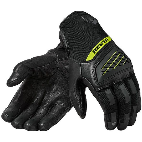 Gants moto en cuir Sports Rev'it NEUTRON 3 Noir Jaune Fluo