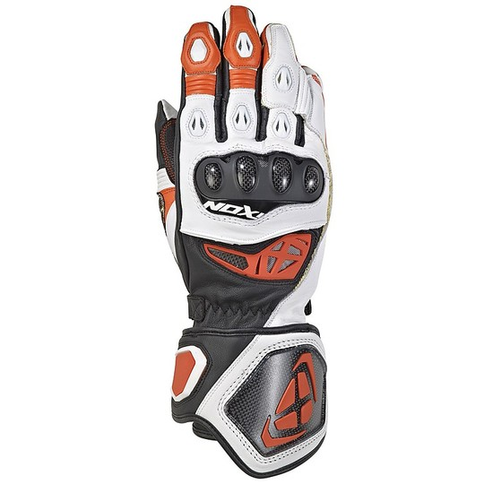 Gants Moto Ixon RS Genius 2 En Cuir Noir Blanc Orange