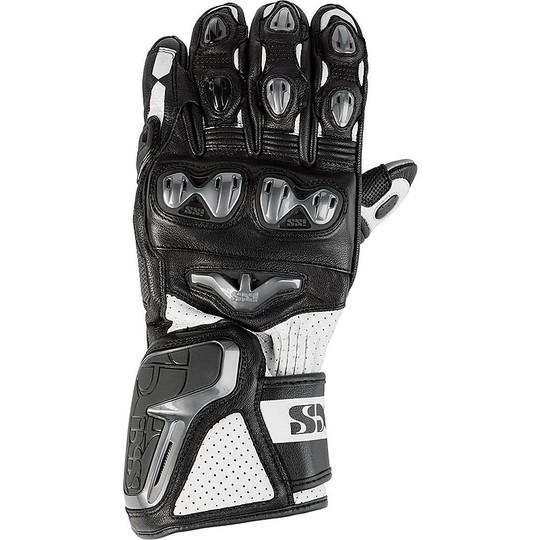 Gants Moto Racing Leather Ixs Sport Rs-400 Noir Blanc