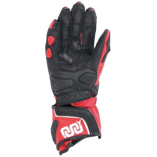 Gants Moto Racing Leather OJ FEAT Noir Rouge