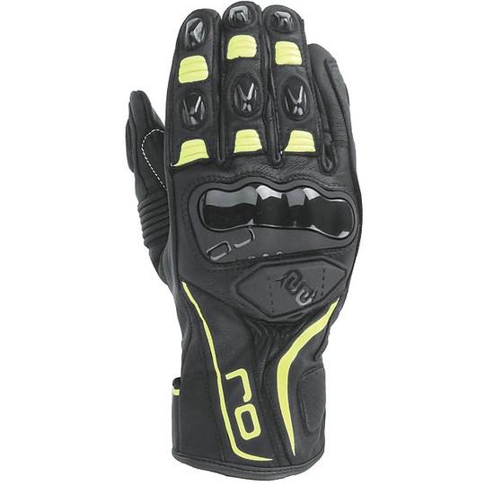 Gants Moto Racing Leather OJ SPIN Noir Jaune Fluo