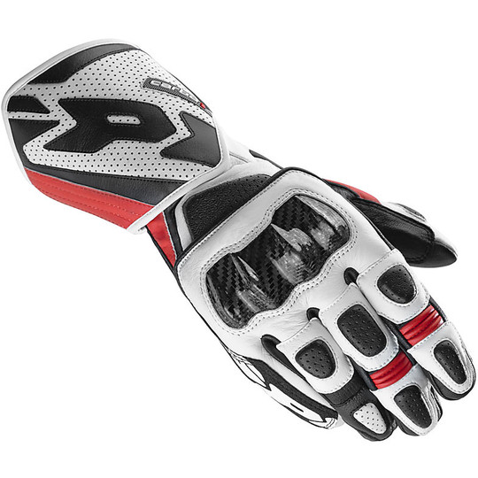 Gants Moto Spidi CARBO 1 Racing Cuir Blanc Rouge