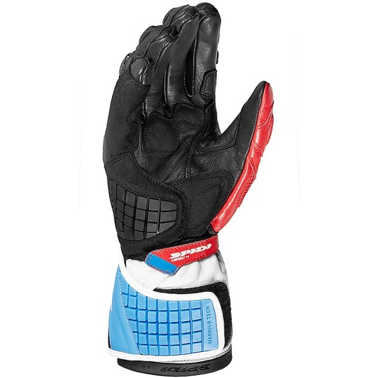Gants Moto Spidi CARBO 4 Racing Cuir Rouge Bleu
