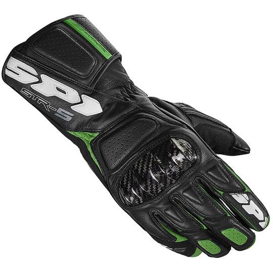 Gants Moto Spidi STR-5 Racing Cuir Noir Vert