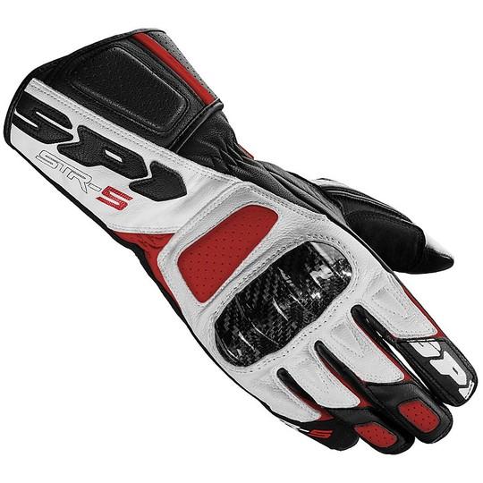 Gants Moto Spidi STR-5 Racing Leather Noir Blanc Rouge