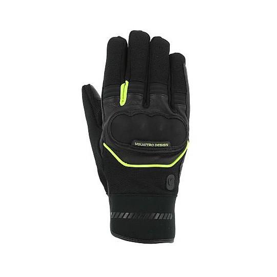 Gants moto tissu hiver Vquattro Grind 17 noir jaune