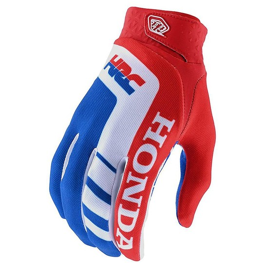 Gants Moto Troy Lee Design Cross Enduro AIR HONDA Rouge Blanc Bleu
