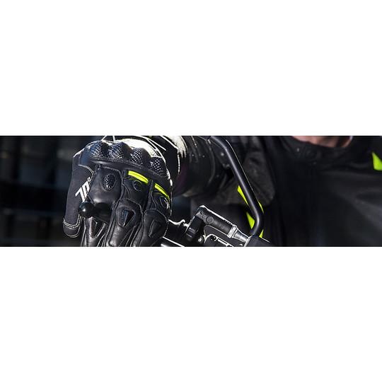 Gants Techniques de Course de Moto en Cuir Seventy R2 Noir Bleu Homologué