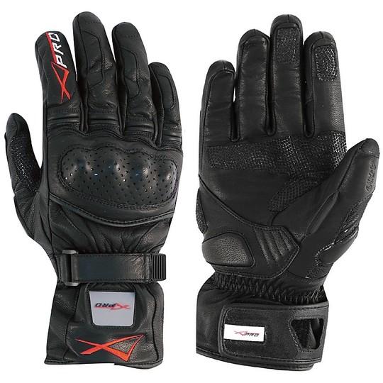 Gants thermiques de course moto A-Pro cuir pleine fleur précision noir
