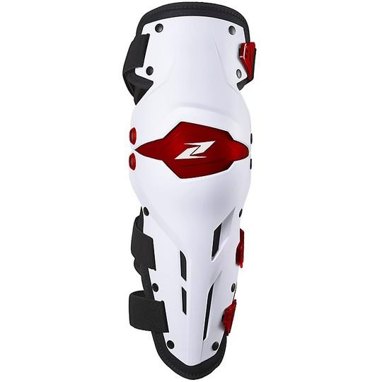 Genouillères Moto Cross Enduro Articulées Zandonà X-TREME Blanc Rouge Niveau 1