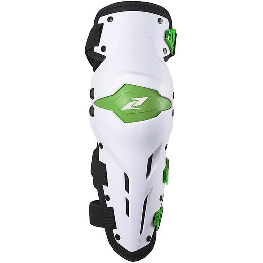 Genouillères Moto Cross Enduro Articulées Zandonà X-TREME Blanc Vert Niveau 1