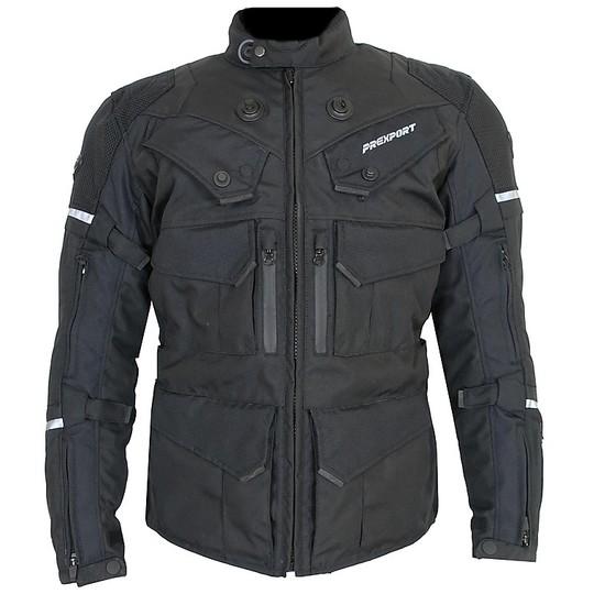 Giacca Moto in Tessuto Prexport Goteborg 3 Strati All Black