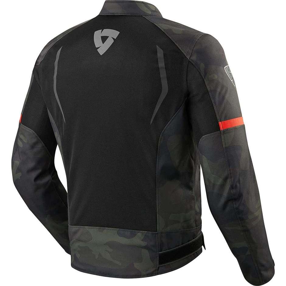 Giacca Moto In Tessuto Rev'it TORQUE Nero Verde Militare