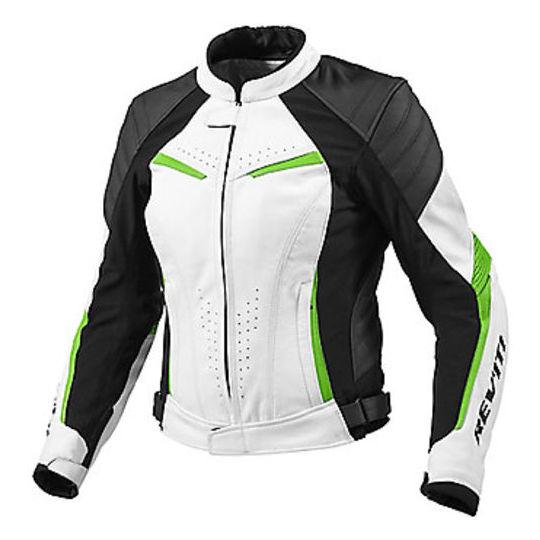 Vera Rev'it Acid Green Giacca Moto Pelle Abbigliamento Lady Xena In bvgYyf76