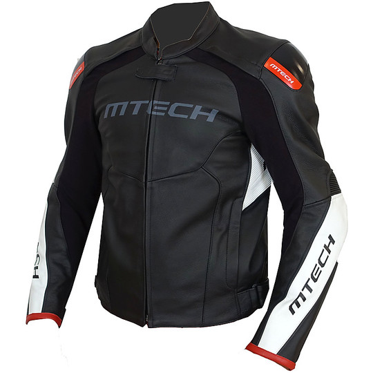 Giacca Moto Tecnica In Pelle MTECH MRT Sportiva Nero Bianco