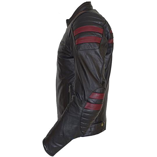 Giacca Moto Tecnica in Vera Pelle Morbidissima PXT Stripes Black Red Bordeaux