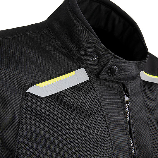 Gilet de moto en tissu certifié Urban Tucano 8160mf201 NETWORK 2G noir jaune fluo