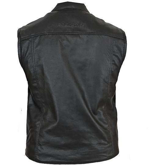 Gilet de moto personnalisé en cuir noir Pxt BOB 2 poches