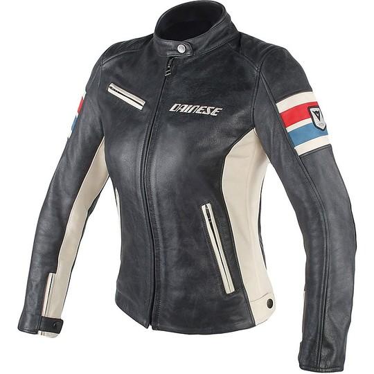 Giubbotto Moto da Donna In Pelle Dainese LOLA D1 Nero Ghiaccio Blu Rosso