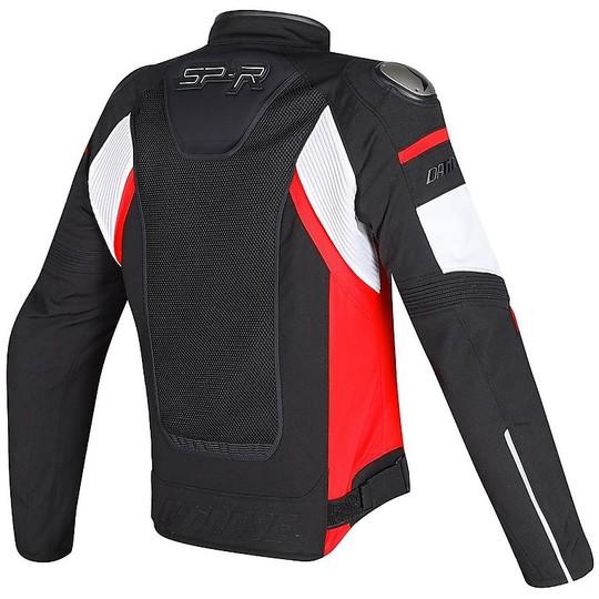 giacca moto pelle dainese super speed tex nero bianco rosso