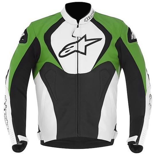 giacca alpinestars pelle nero verde