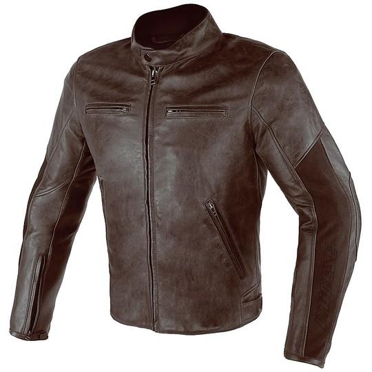 giacca pelle dainese marrone e bianco